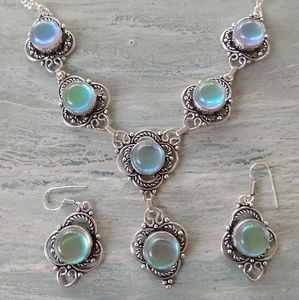Opolite stamped 925 necklace and earrings set
